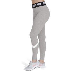 Nike High Waist Club Leggings Gray White